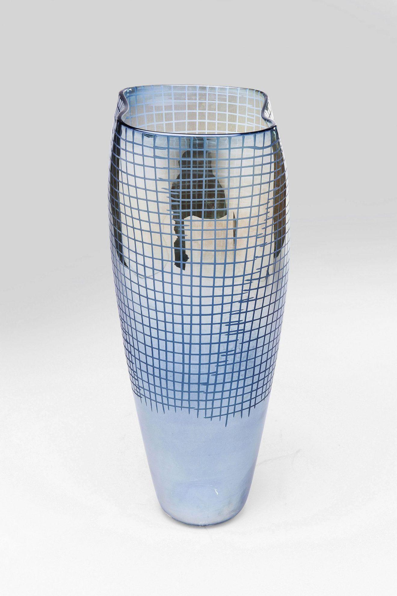 Kare 61740_Vase Grid Luster Blau