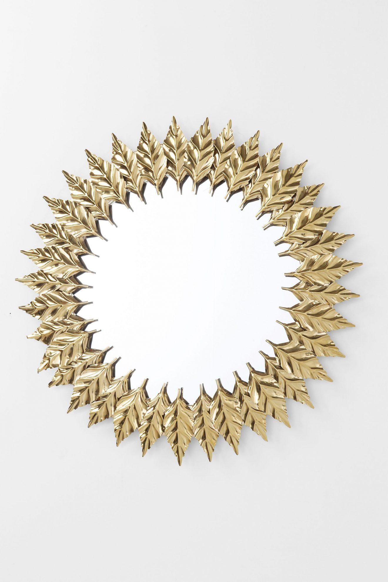 Kare 83763_Spiegel Leaves Gold ø 76 cm